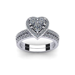 1 Carat Heart Shaped Bridal Engagement Ring Set in 14K White Gold - White I-J