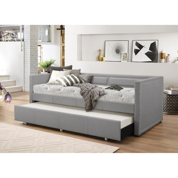 baxton studio sofia modern contemporary beige or grey fabric nailheads trimmed sofa twin daybed. Black Bedroom Furniture Sets. Home Design Ideas