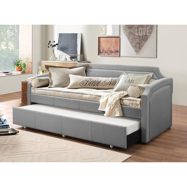 baxton studio paraskeve modern and contemporary fabric curved notched corners sofa twin daybed. Black Bedroom Furniture Sets. Home Design Ideas