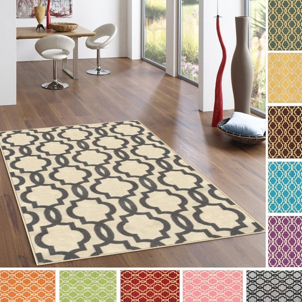 Fancy Moroccan Trellis Non Slip Area Rug Rubber Backed 6