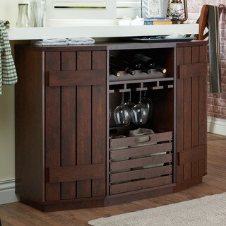 Furniture of America Harla Walnut Rustic Vintage Server with Removable Crate