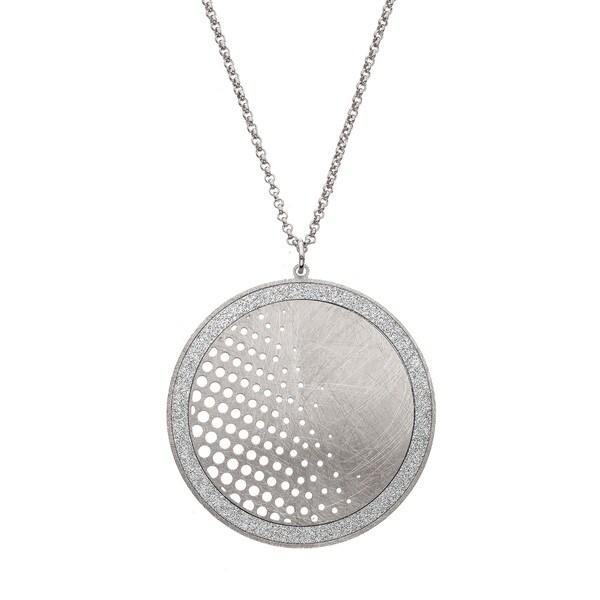 Isla Simone - Silver Tone Dial Half Polka-Dot Circle Necklace