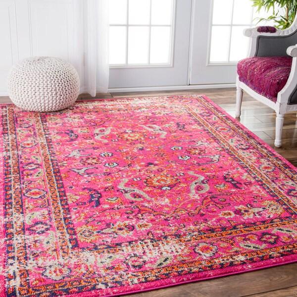NuLOOM Traditional Vintage Floral Distressed Pink Rug (5'3