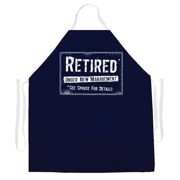 Retired Under New Mangement, See Spouse' Kitchen Apron-Black