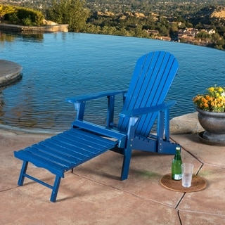 White Folding Adirondack Pull Out Footrest Chair