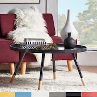 Marcella Paint-dipped Round Spindle Tray Top Coffee Table iNSPIRE Q Modern