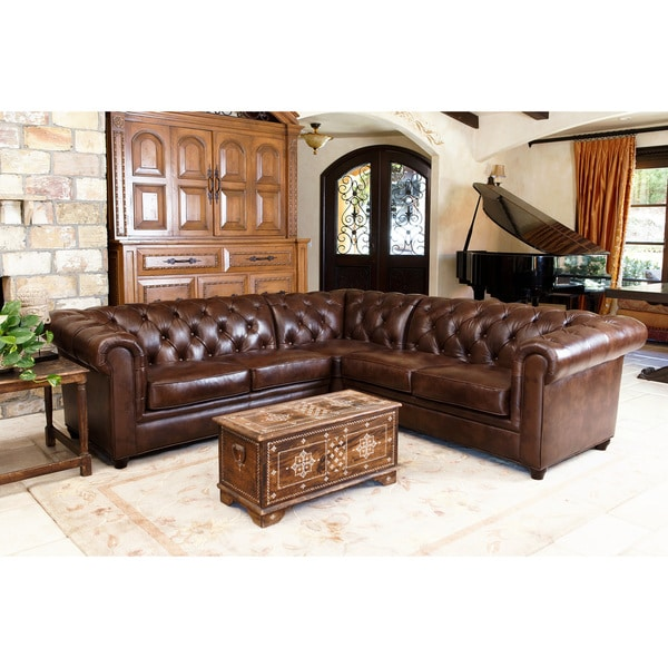 Sectional Sofa Sale Montreal: Abbyson Living Tuscan Tufted Top Grain Leather 3-Piece