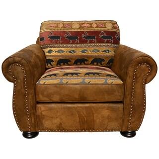Porter Hunter Lodge Style Brown Sofa With Deer Bear And