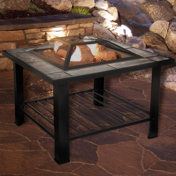 Fire Pit Table 30 Inch Square Black Cover Tile Table Top