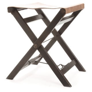 Hip Vintage Folding Leather And Wood Camp Stool 18544827