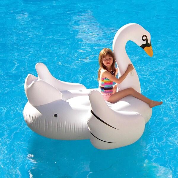 Elegant Giant Swan 72 In Inflatable Ride On Pool Float