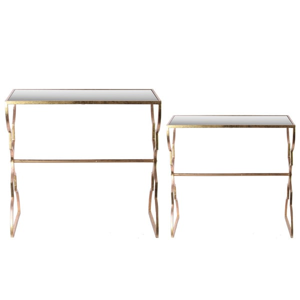 Copper Top Rectangular Coffee Table: Metal Rectangular Nesting Accent Table Metallic Finish