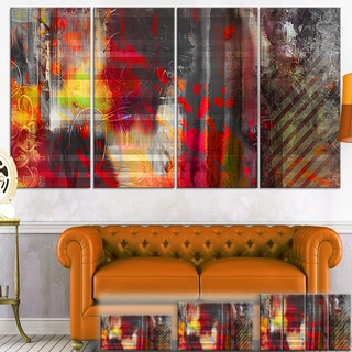 Large Abstract Red Vs Blue Multipanel Canvas Print Art
