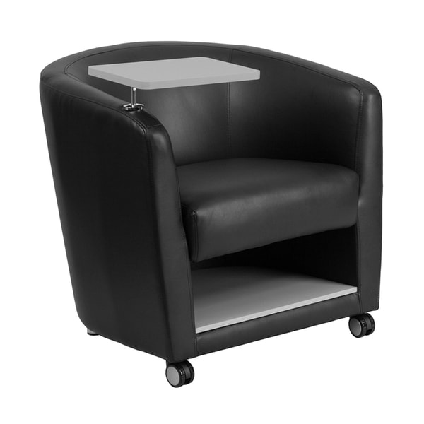 Offex Black Leather Adjustable Guest Chair With Tablet Arm