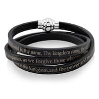 Lord's Prayer Stainless Steel Leather Wrap Bracelet (6mm) - 7In - Black
