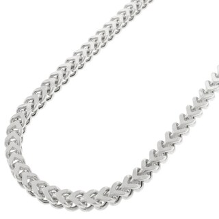 Sterling Silver 3.5mm Hollow Franco Rhodium-plated Chain Necklace