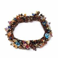 Handmade Stone and Bead Magnetic Caterpillar Bracelet - Earthy Multicolor (Guatemala)