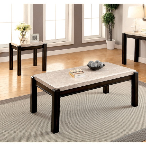 3 Piece Faux Marble Coffee Table Set Living Room Sofa: Furniture Of America Leslie 2-piece Genuine Marble Top