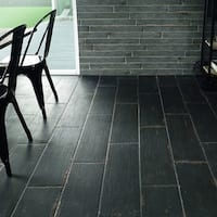 SomerTile 8.25x23.5-inch Lambris Negre Porcelain Floor and Wall Tile (8 tiles/11.22 sqft.)