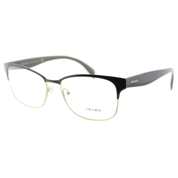 865e4f799cd Prada PR 65RV DHO1O1 Brown On Pale Gold Metal Rectangle 55mm Eyeglasses