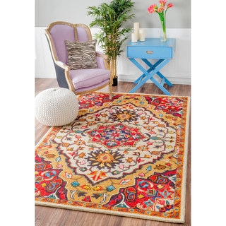 Nuloom Traditional Flower Medallion Orange Rug 7 10 X 11