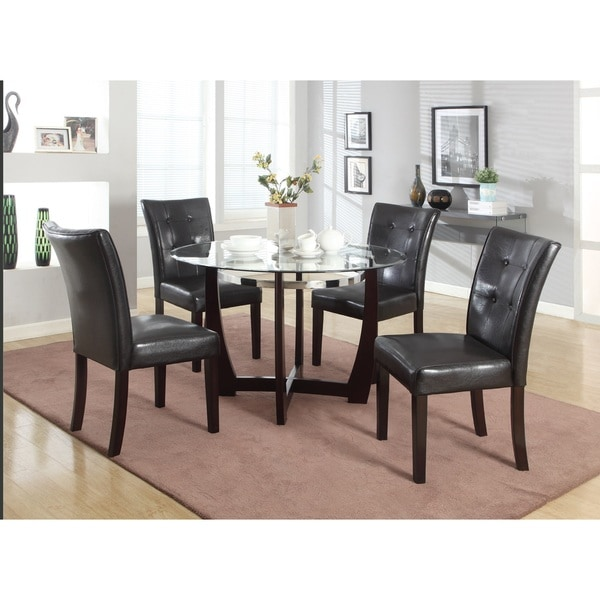 Wesley Cappuccino Glass Top Round 5 Piece Dining Set