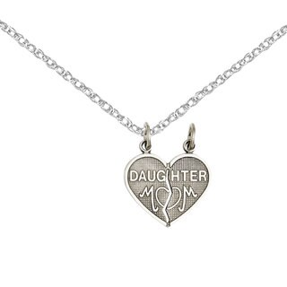Versil 14k White Gold Daughter Mom 2-piece Heart Charm with Two 18-inch Chains