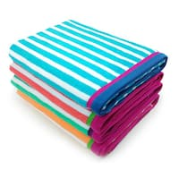 Kaufman Racing Stripe Velour Beach Towels (Set of 4)