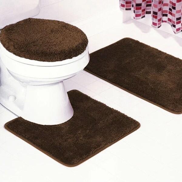 Frieze 3 Piece Bathroom Rug Set 18631193 Overstock Com