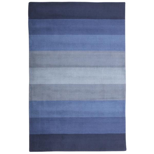 Hand Tufted Blue Stripes Wool Rug 8 X 10 1016295