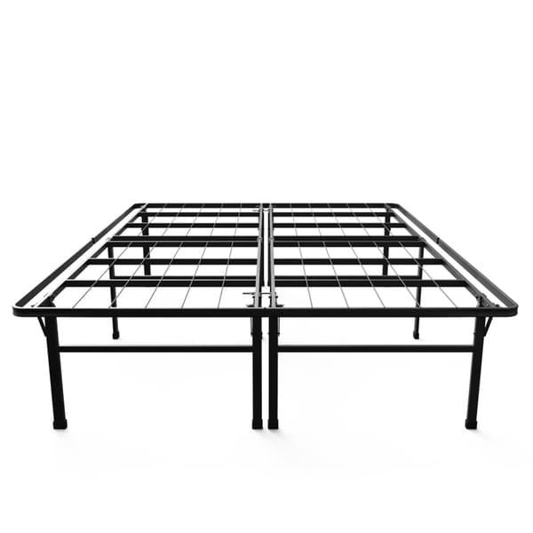 priage 18 inch high profile smartbase black platform bed frame full 18644449. Black Bedroom Furniture Sets. Home Design Ideas