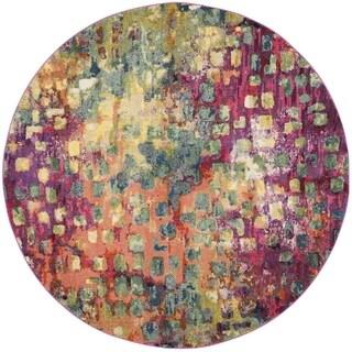 Hand Tufted Metro Flower Beige Wool Rug 8 Round