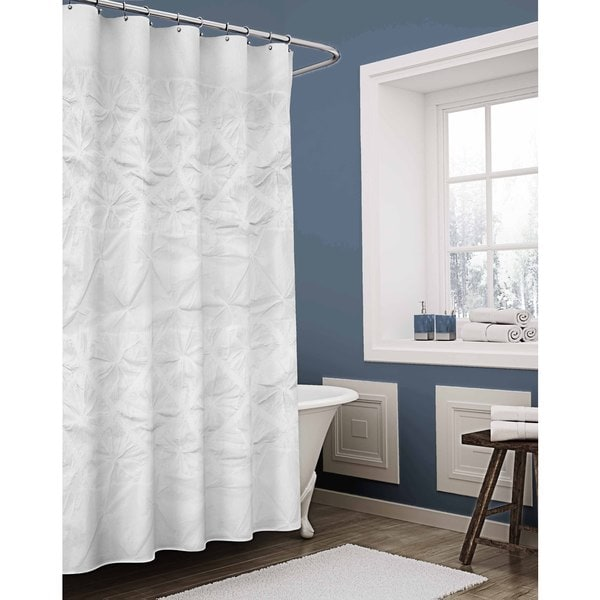 Vue Daelyn Solid White Textured Shower Curtain