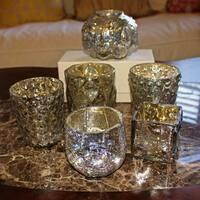GlideRite 6-piece Assorted Vintage Mercury Glass Tea Light Votive Candle Holder Set