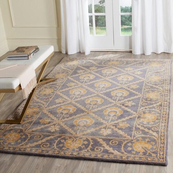 Safavieh Handmade Bella Blue/ Gold Wool Rug - 8' x 10'
