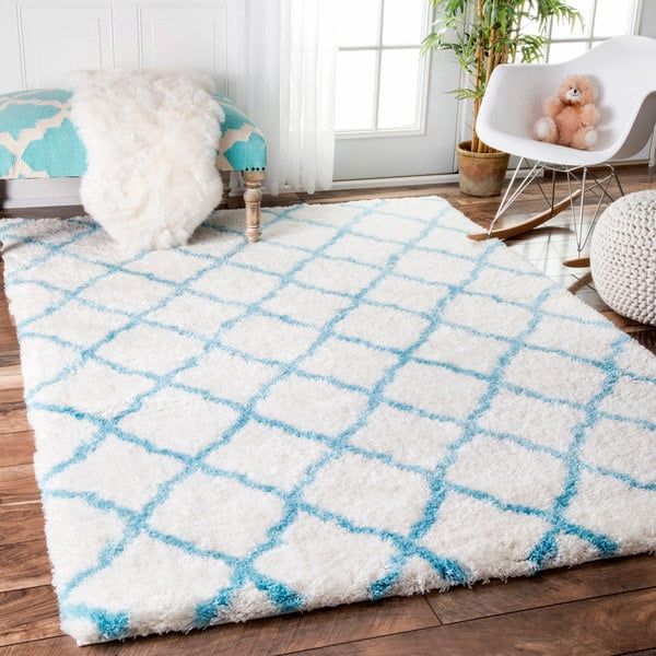 NuLOOM Soft And Plush Cloudy Shag Trellis Baby Blue Rug (8