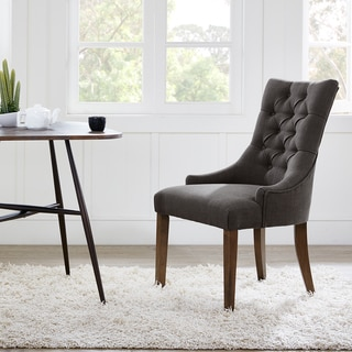 Park Avenue Black Croco Charcoal Leather Dining Chair