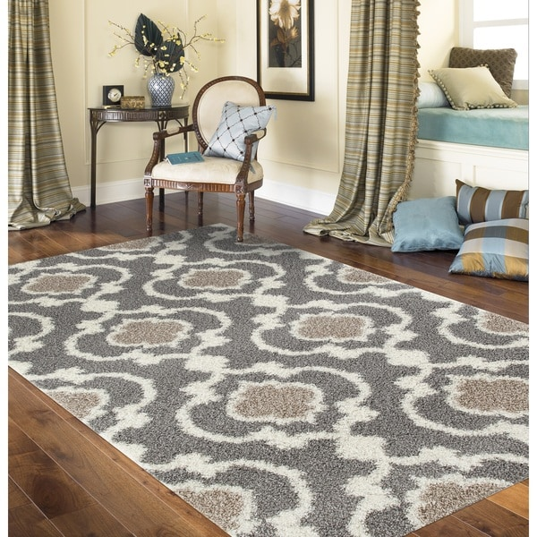 Cozy Moroccan Trellis Grey Cream Indoor Shag Area Rug 7