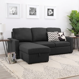 The Hom Colton Grey Linen Sectional Sofa With Reversible