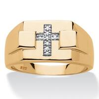 14k Gold over Silver Men's Diamond Accent Religious Cross Ring