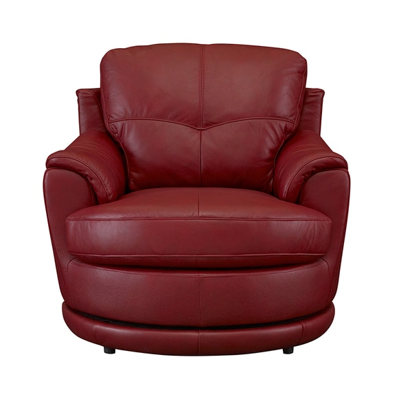 Bombay Dorena Red Leather Swivel Chair 18684535