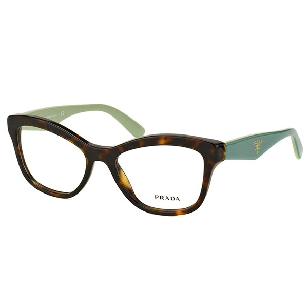 1709b1cb78d Prada PR 29RV 2AU1O1 Havana On Green Plastic Cat-Eye 54mm Eyeglasses