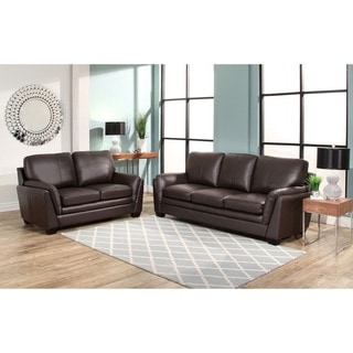 Enjoyable 9Abbyson Living Bella Top Grain Leather Sofa And Loveseat Onthecornerstone Fun Painted Chair Ideas Images Onthecornerstoneorg