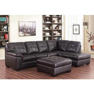 Abbyson Living Devonshire Brown Leather Tufted Sectional