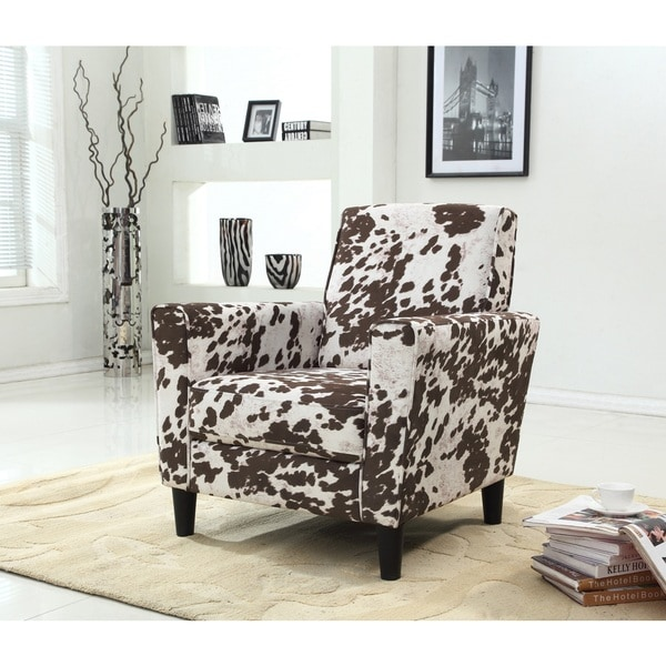Contemporary Cow Pattern Fabric Accent Chair 18715688