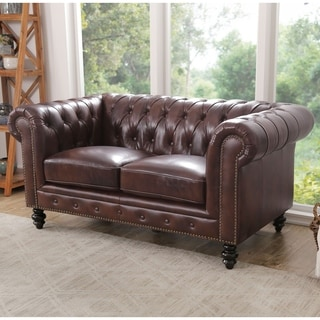 Fabulous 3Abbyson Living Brown Top Grain Leather Grand Chesterfield Caraccident5 Cool Chair Designs And Ideas Caraccident5Info