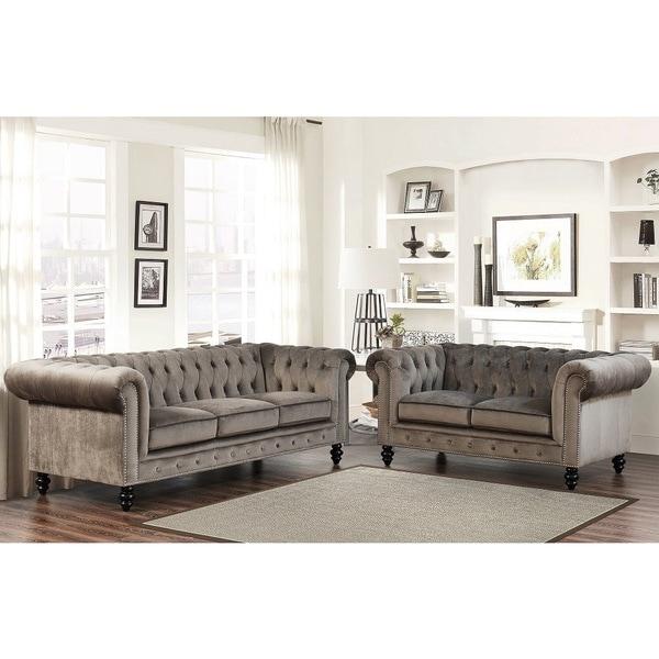 Buy Living Room Sets: Abbyson Living Grand Chesterfield Grey Velvet Sofa And