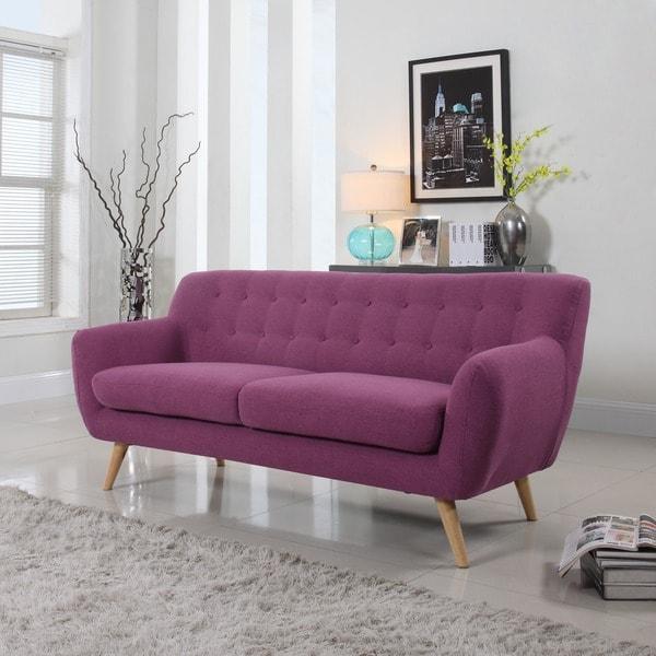 Mid Century Modern Tufted Linen Fabric Sofa 18716937