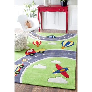 Nuloom Hand Carved Kids Green Cars Amp Trucks Roadway Wool