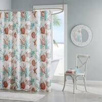 Madison Park Pacific Grove Coral Cotton Printed Shower Curtain